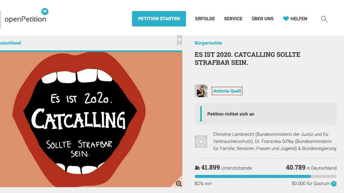 Die Petition gegen Catcalling.