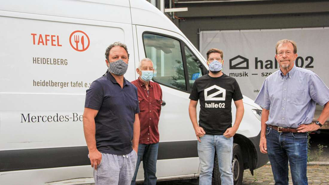 Hannes Seibold (GF halle02), Manfred Heuser (1. Vors. Tafel), Felix Grädler (GF halle02), Wolfgang Hagmann (2. Vors. Tafel) (v.l.)