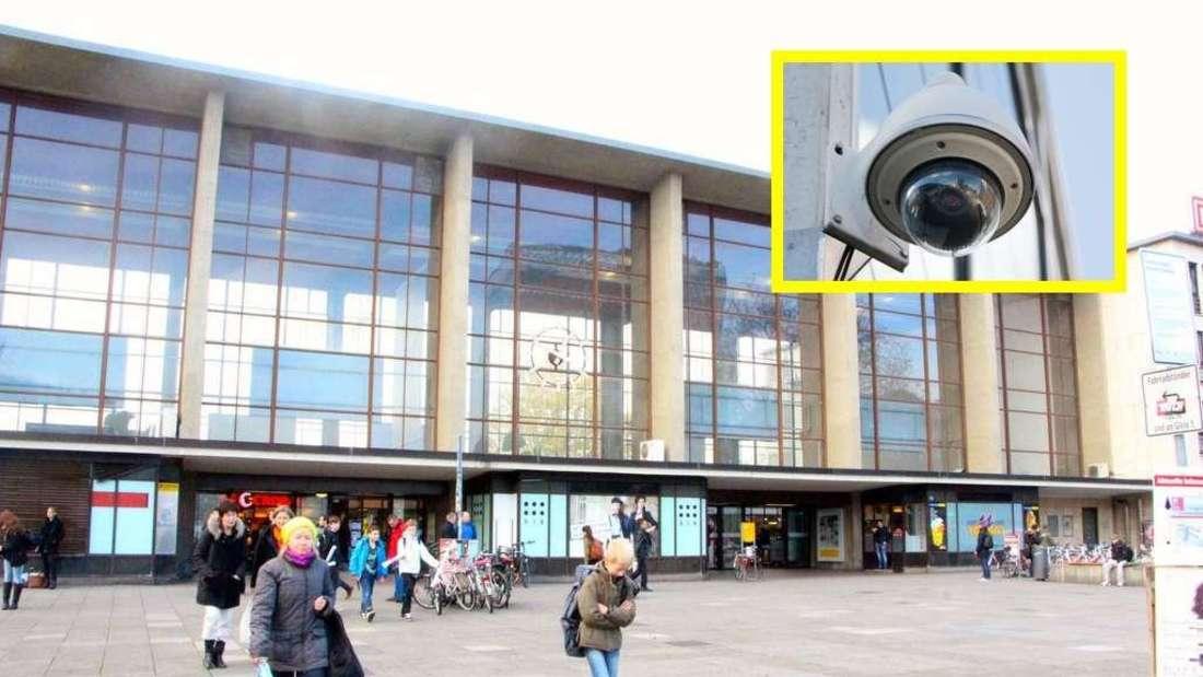 Bahnhofsvorplatz am Hauptbahnhof in Heidelberg (Fotomontage).