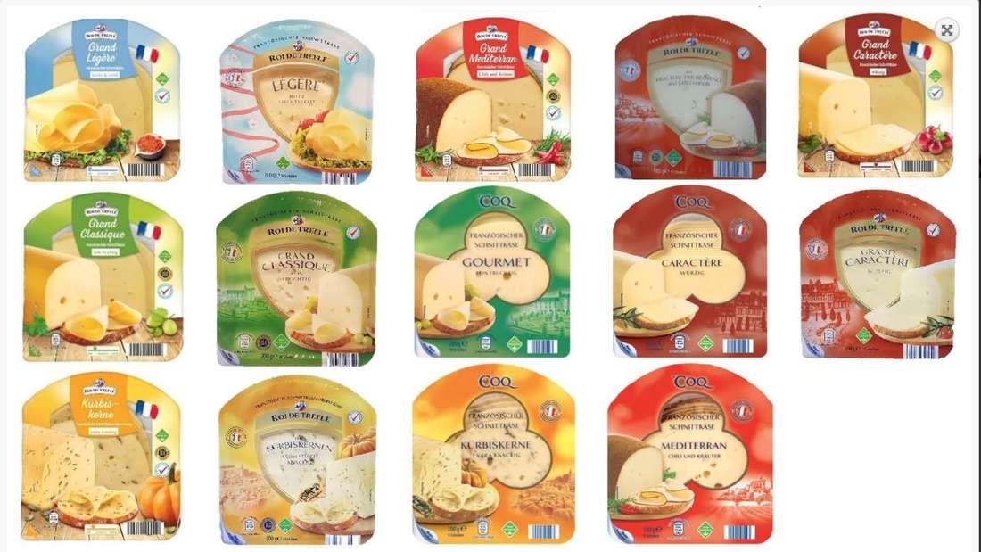 Die vom Rückruf betroffenen Käse-Sorten, die bei Aldi Süd und Nord verkauft werden.