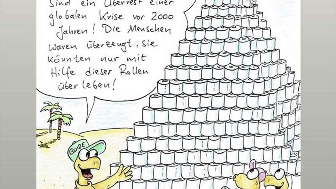 Ein witziger Cartoon zum Thema Klopapier