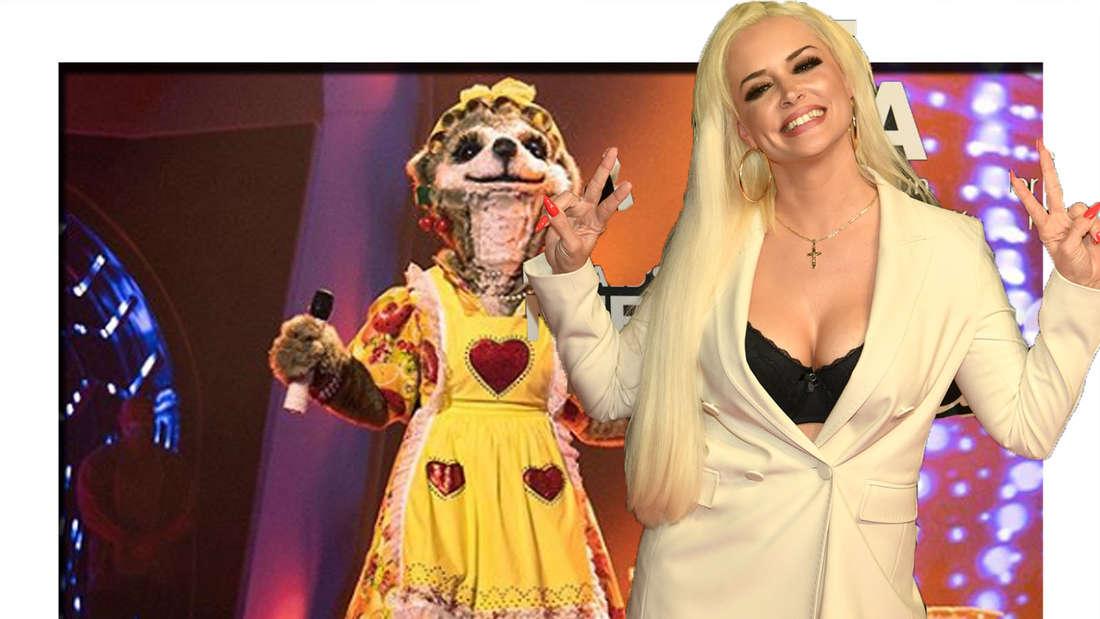 Daniela Katzenberger formt ihre Finger zu einem Peace-Zeichen und grinst in die Kamera. Im Hintergrund ist das Erdmännchen-Kostüm von The Masked Singer zu sehen. (Fotomontage)