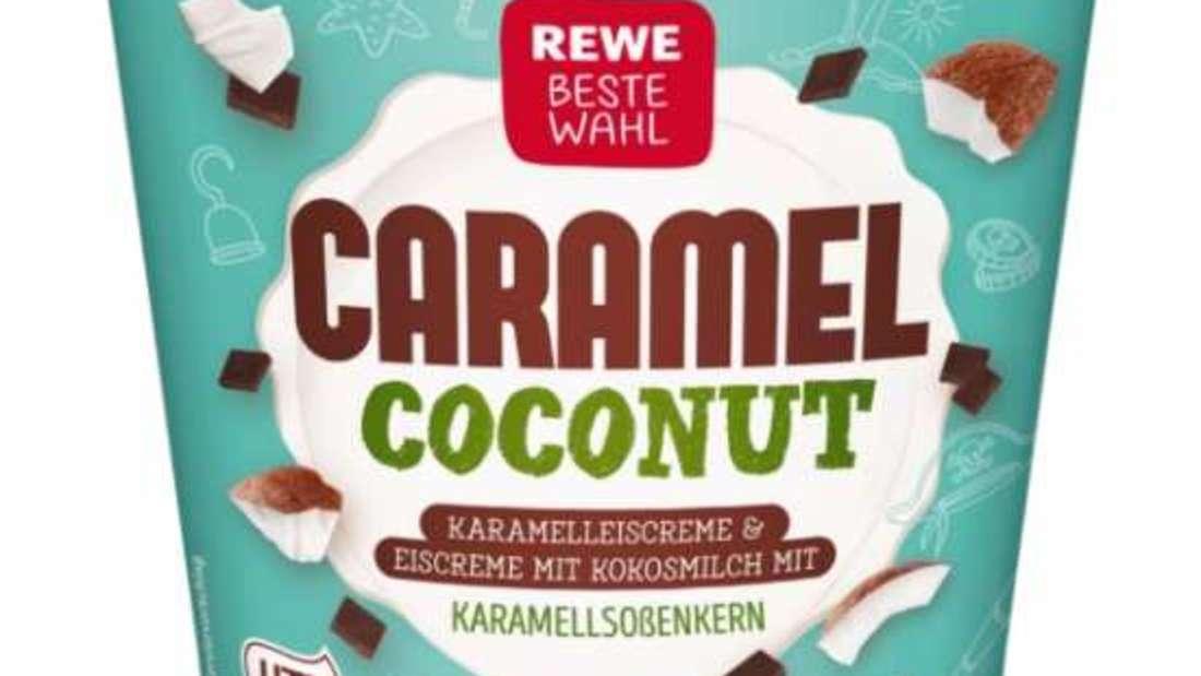 """Rewe ruft das """"Caramel Coconut""""-Eis zurück - es kann Gluten enthalten. Hersteller ist die Eisbär Eis GmbH aus Apensen."""