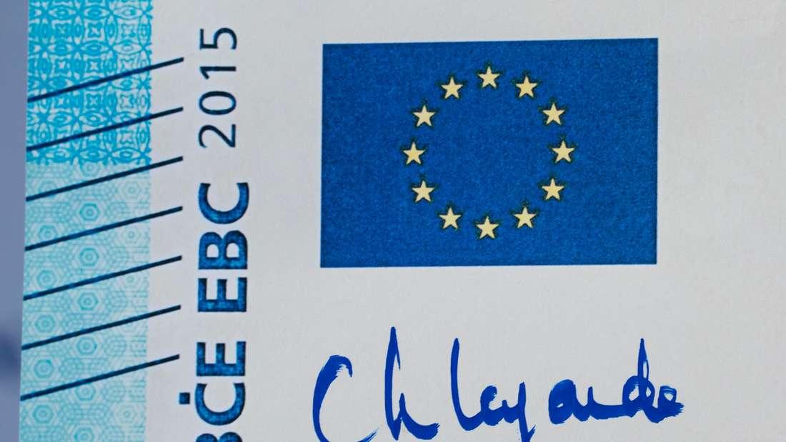 Die Unterschrift von Christine Lagarde auf einem 20-Euro-Schein.
