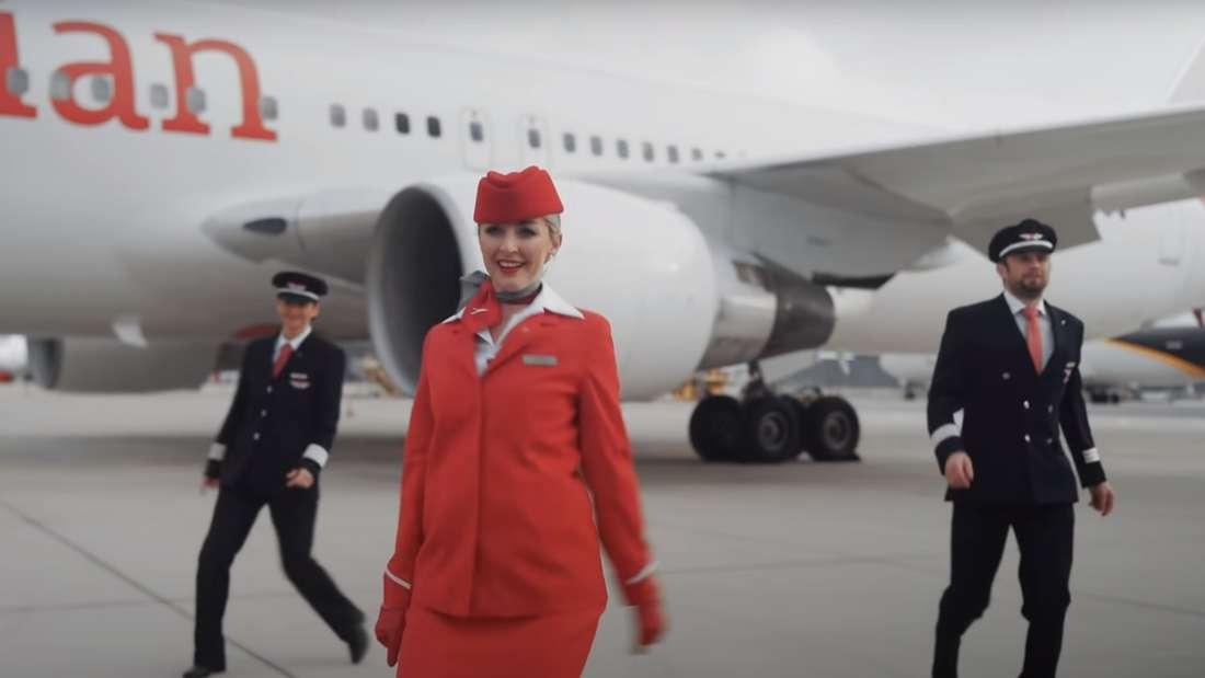 AUA-Stewardess: Mitarbeiter der österreichischen Lufthansa-Tochter sorgen derzeit mit ihrer Interpretation der Jerusalema Dance Challenge für Furore im Netz.