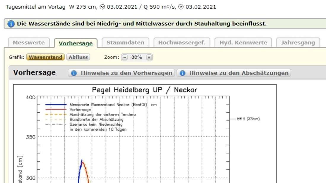 Prognose des Neckarpegels in Heidelberg am 4. Februar 2021.