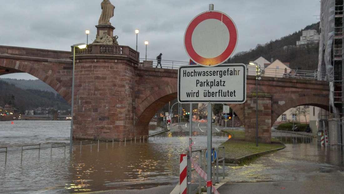 Hochwasser Alte Brücke B37 Januar 2019 © HEIDELBERG24/PR-Video/Priebe