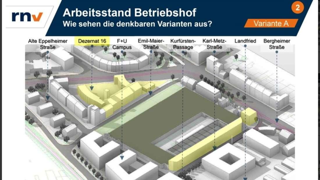 Die Variante A ist Grundlage für die konkreteren Betriebshof-Pläne von Stadt Heidelberg und RNV.