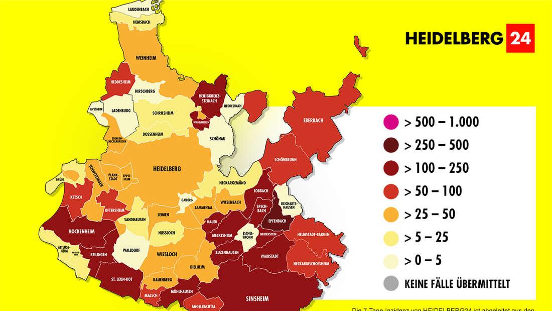 Die Grafik zeigt die 7-Tage-Inzidenz der Gemeinden im Rhein-Neckar-Kreis (Stand: 18. Februar).