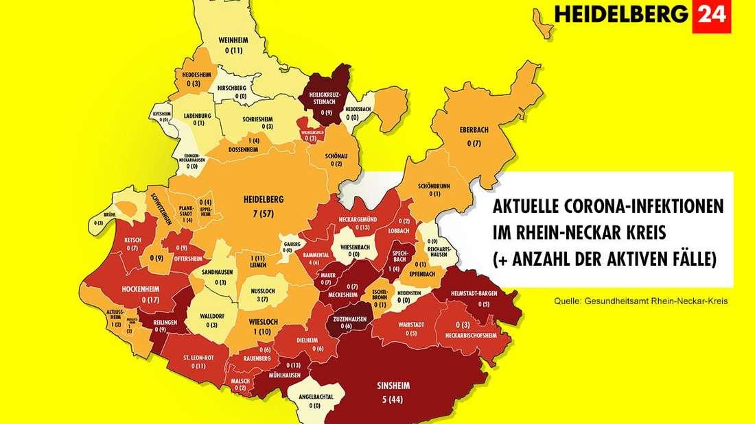 Die Grafik zeigt die Corona-Neuinfektionen und die Zahl der aktiven Fälle der Gemeinden im Rhein-Neckar-Kreis (Stand: 22. Februar).
