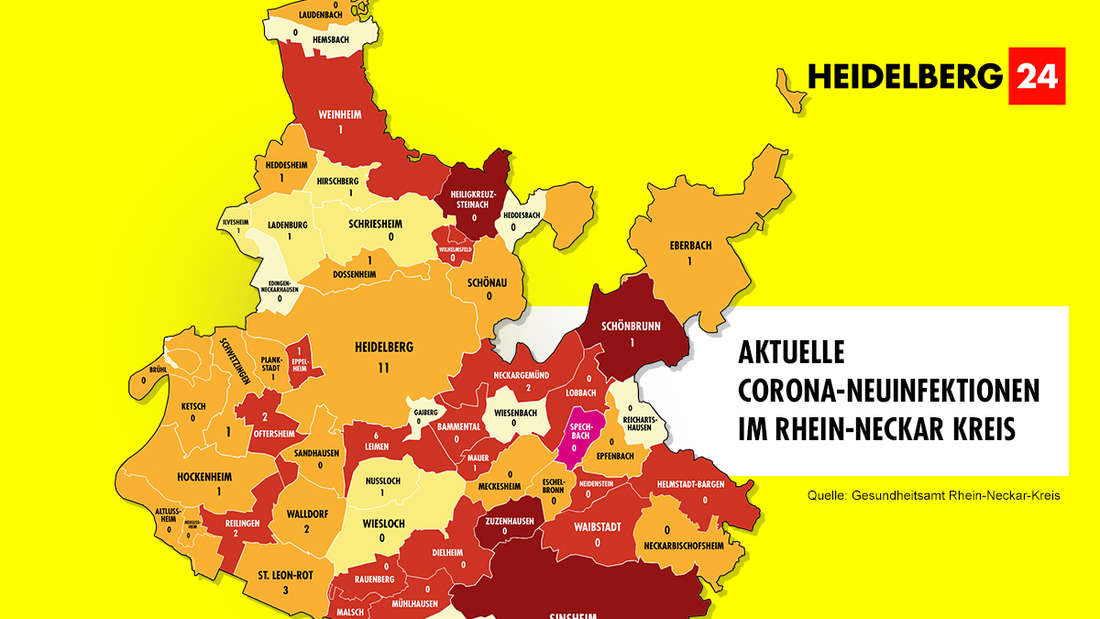 Die Grafik zeigt die Corona-Neuinfektionen der Gemeinden im Rhein-Neckar-Kreis (Stand: 25. Februar).