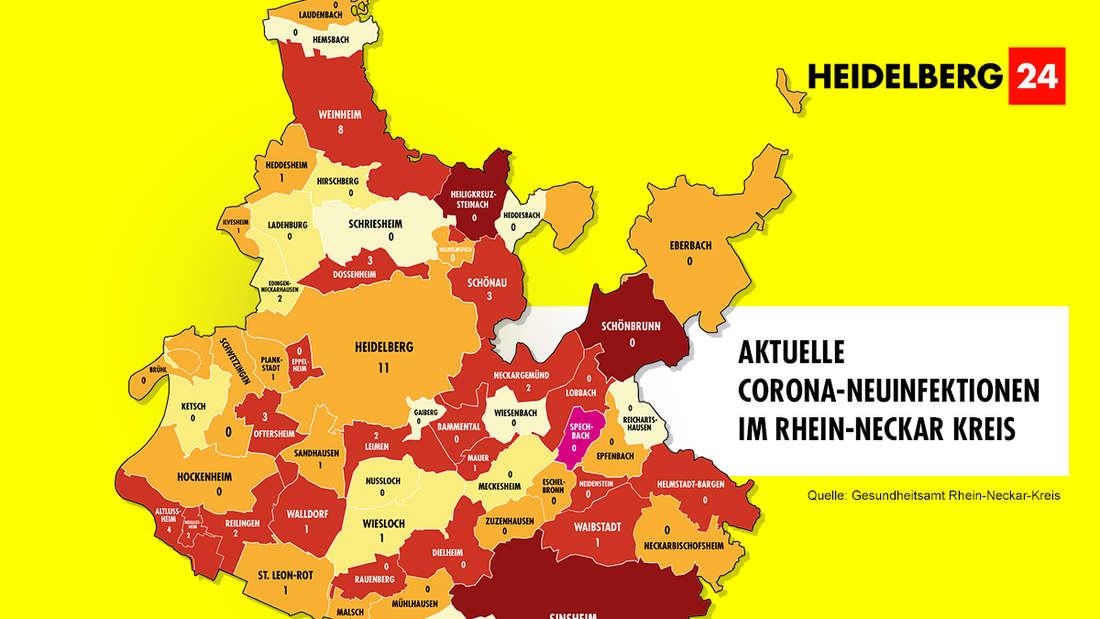 Die Grafik zeigt die 7-Tage-Inzidenz der Gemeinden im Rhein-Neckar-Kreis (Stand: 26. Februar).