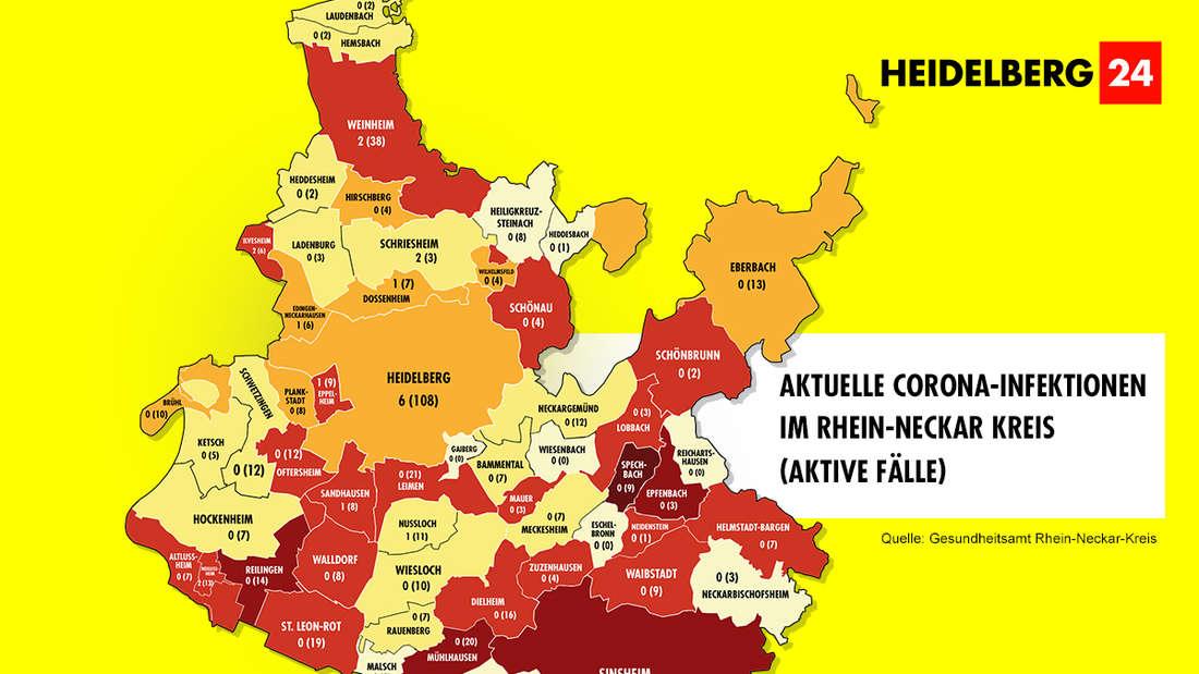 Die Grafik zeigt die Corona-Neuinfektionen und die aktiven Fälle der Gemeinden im Rhein-Neckar-Kreis (Stand: 1. März).
