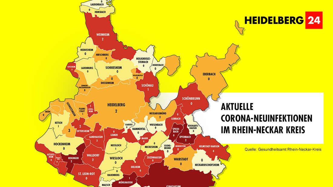 Die Grafik zeigt die Corona-Neuinfektionen der 54 Gemeinden im Rhein-Neckar-Kreis (Stand: 2. März).