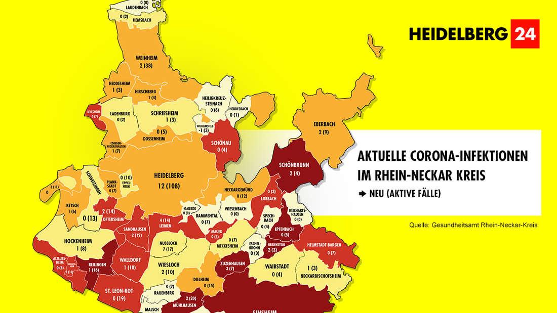 Die Grafik zeigt die Corona-Neuinfektionen und die aktiven Fälle der Gemeinden im Rhein-Neckar-Kreis (Stand: 3. März).