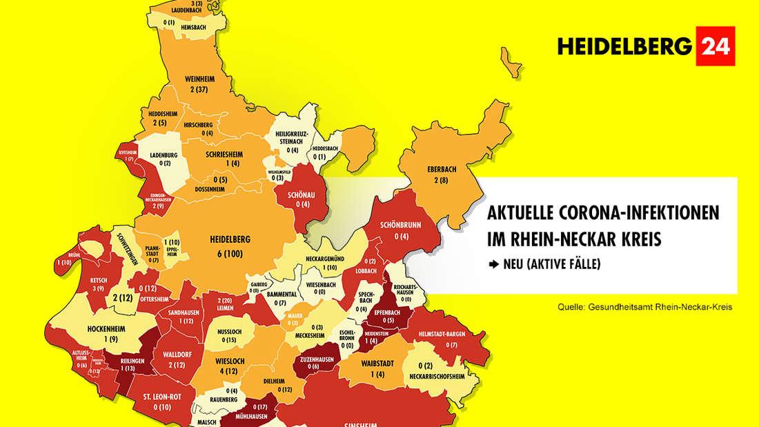 Die Grafik zeigt die Corona-Neuinfektionen und die aktiven Fälle der Gemeinden im Rhein-Neckar-Kreis (Stand: 4. März).