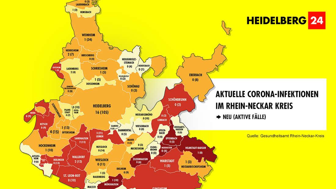 Die Grafik zeigt die Corona-Neuinfektionen der 54 Gemeinden im Rhein-Neckar-Kreis (Stand: 5. März).
