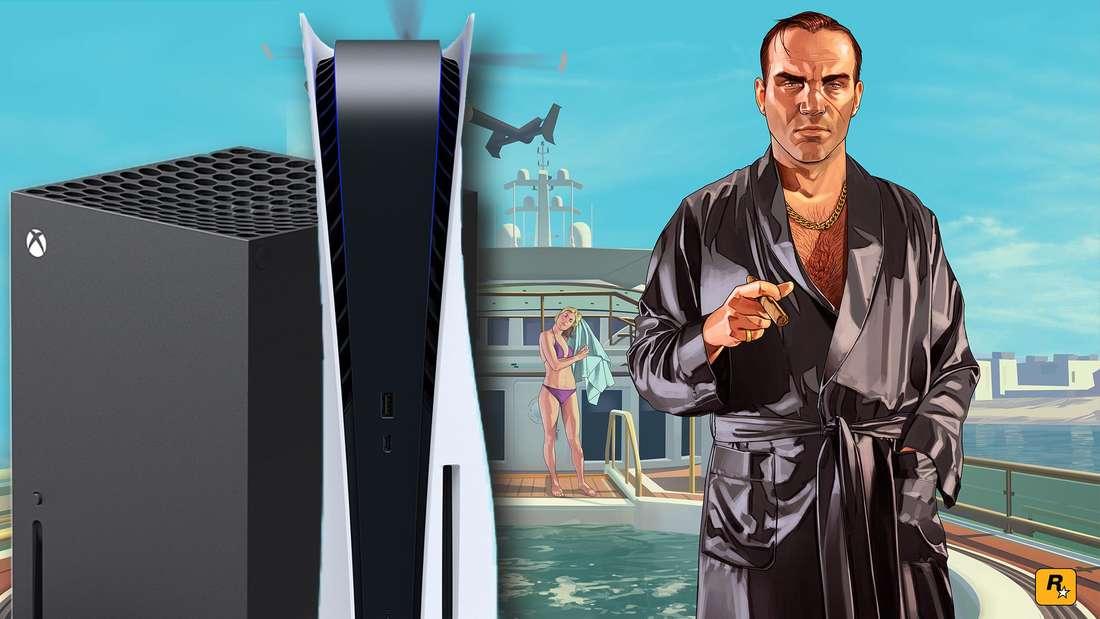 Ein Charakter aus GTA 5 auf einer Yacht, daneben die Xbox Series X und PS5.