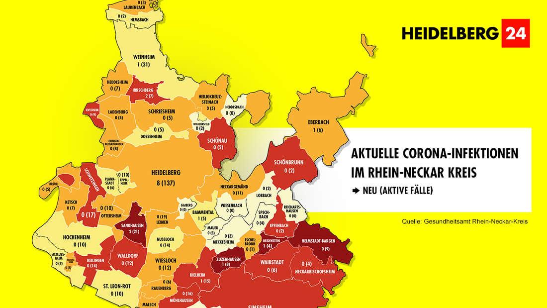 Die Grafik zeigt die Corona-Neuinfektionen der 54 Gemeinden im Rhein-Neckar-Kreis (Stand: 8. März).