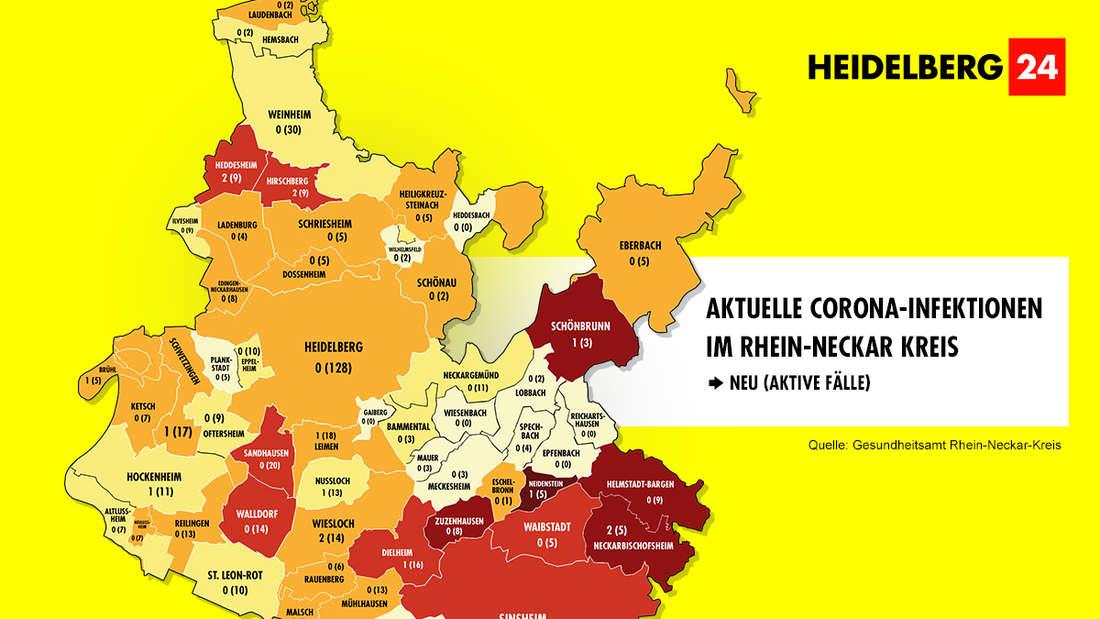 Die Grafik zeigt die Corona-Neuinfektionen der 54 Gemeinden im Rhein-Neckar-Kreis (Stand: 9. März).