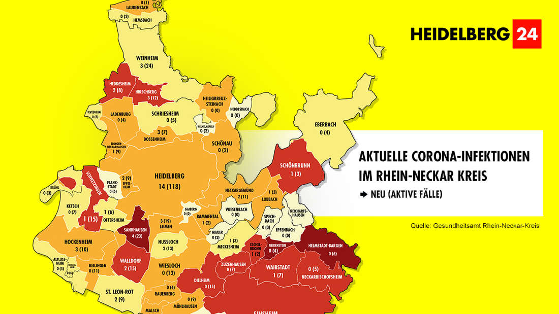 Die Grafik zeigt die Corona-Neuinfektionen der 54 Gemeinden im Rhein-Neckar-Kreis (Stand: 10. März).