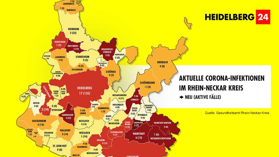 Die Grafik zeigt die Corona-Neuinfektionen der 54 Gemeinden im Rhein-Neckar-Kreis (Stand: 11. März).