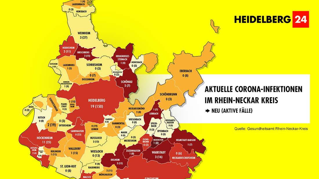Die Grafik zeigt die Corona-Neuinfektionen der 54 Gemeinden im Rhein-Neckar-Kreis (Stand: 12. März).