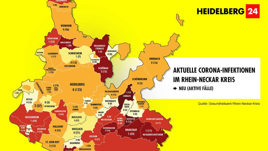 Die Grafik zeigt die Corona-Neuinfektionen der 54 Gemeinden im Rhein-Neckar-Kreis (Stand: 13. März).