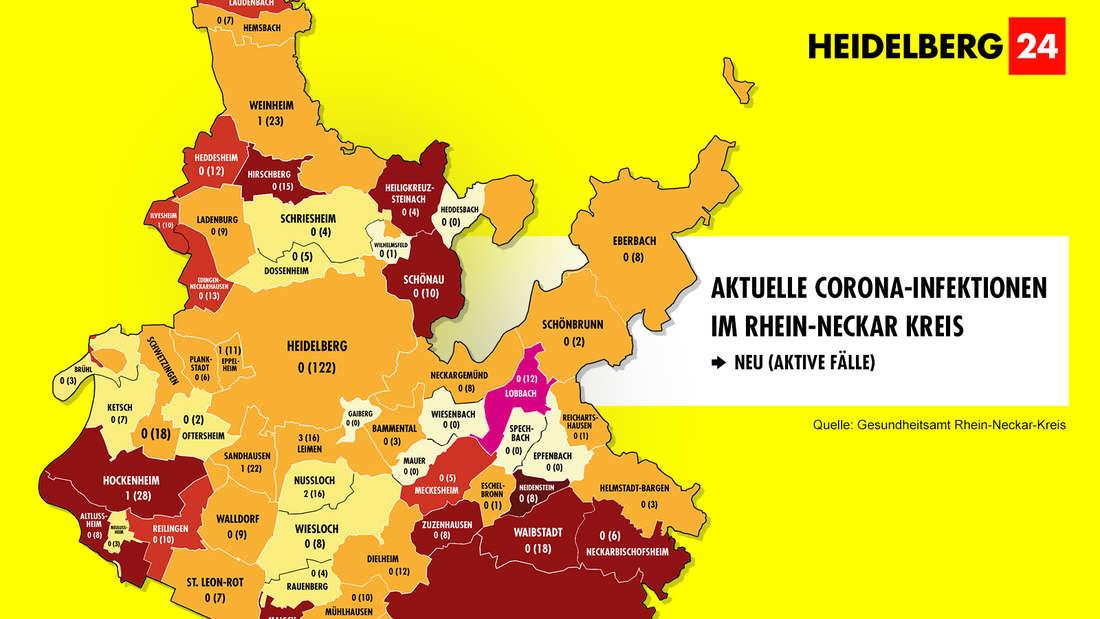 Die Grafik zeigt die Corona-Neuinfektionen der 54 Gemeinden im Rhein-Neckar-Kreis (Stand: 14. März).