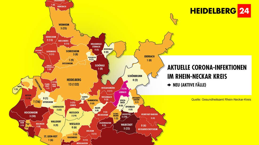Die Grafik zeigt die Corona-Neuinfektionen der 54 Gemeinden im Rhein-Neckar-Kreis (Stand: 16. März).