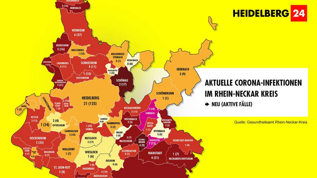 Die Grafik zeigt die Corona-Neuinfektionen der 54 Gemeinden im Rhein-Neckar-Kreis (Stand: 18. März).