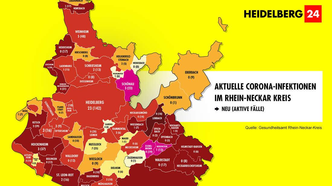 Die Grafik zeigt die Corona-Neuinfektionen der 54 Gemeinden im Rhein-Neckar-Kreis (Stand:22. März).