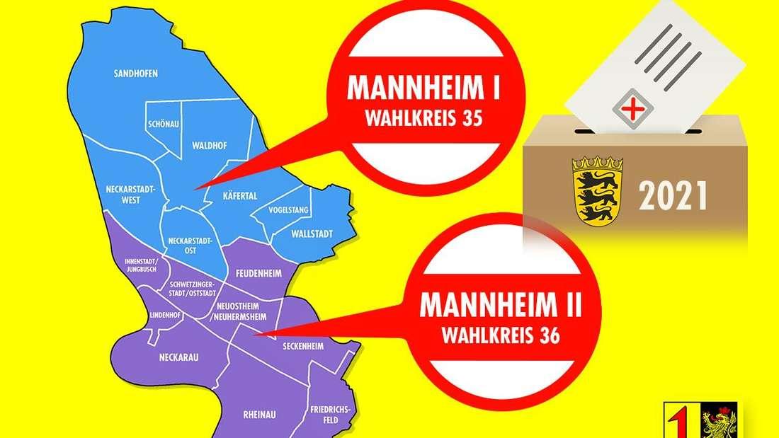 Mannheim ist für die Landtagswahl Baden-Württemberg 2021 in zwei Wahlkreise aufgeteilt.