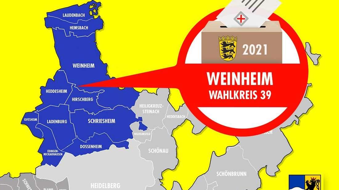 Landtagswahl Baden-Württemberg 2021: Der Wahlkreis 39 Weinheim ist einer von vier Wahlkreisen im Rhein-Neckar-Kreis.