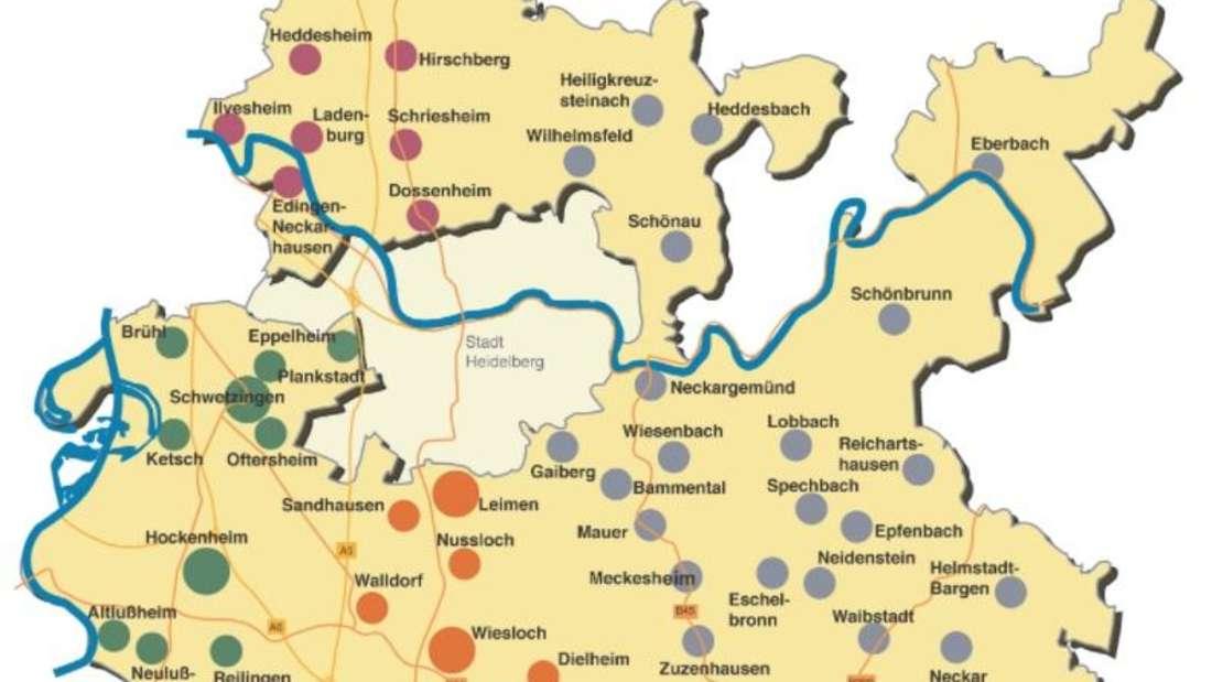 Der Rhein-Neckar-Kreis ist bei der Landtagswahl 2021 in Baden-Württemberg in die vier Wahlkreise Wiesloch, Weinheim, Schwetzingen und Sinsheim aufgeteilt.