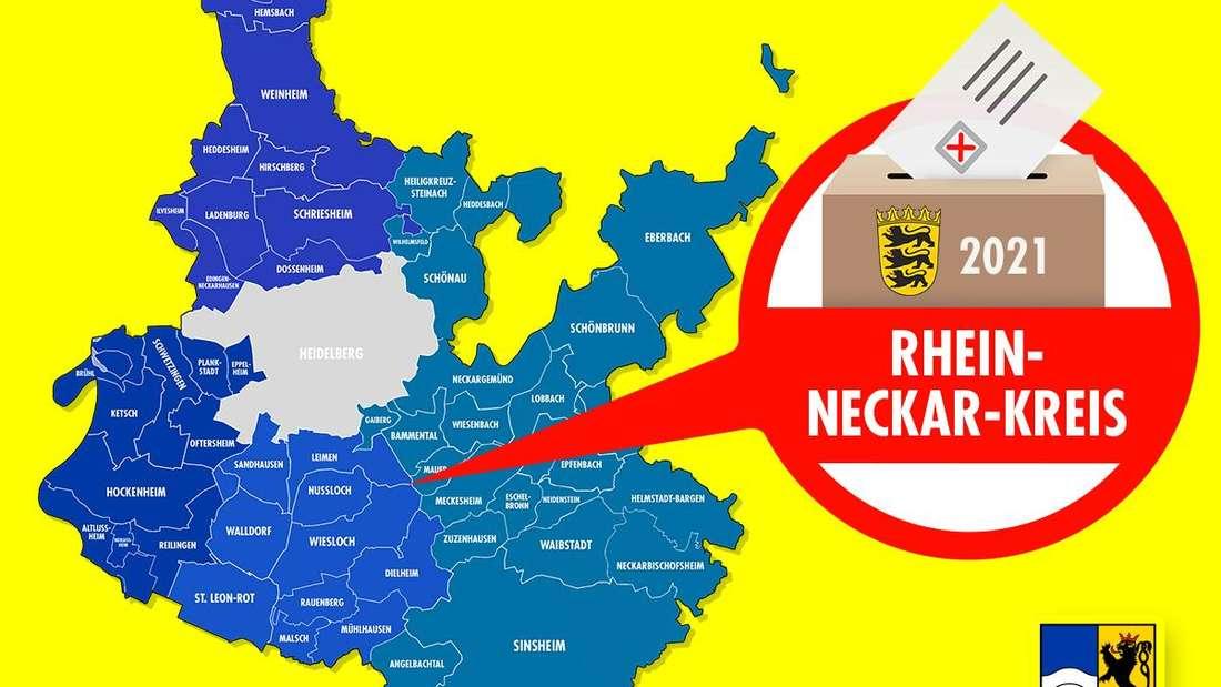 Der Rhein-Neckar-Kreis ist für die Landtagswahl 2021 in Baden-Württemberg in vier Wahlkreise aufgeteilt.