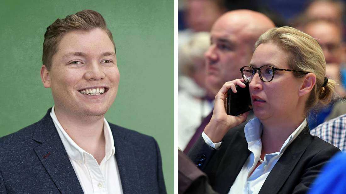Montage: Felix Herker von den Grünen neben Alice Weidel, die mit dem Handy telefoniert