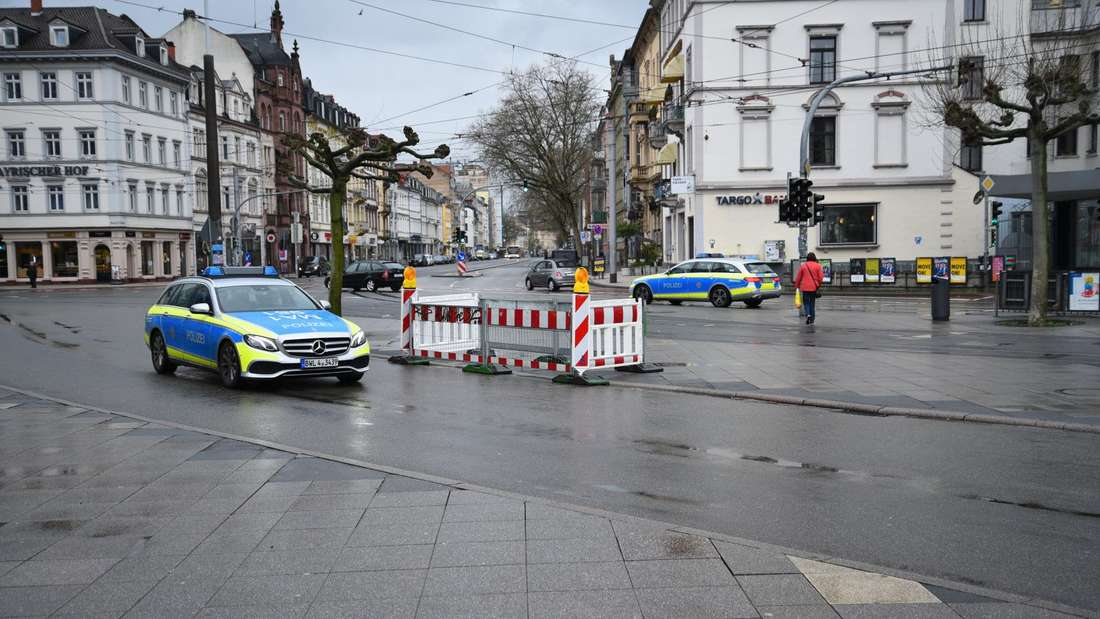 Zwei Polizeistreifen am Bismarckplatz. (Archivfoto)