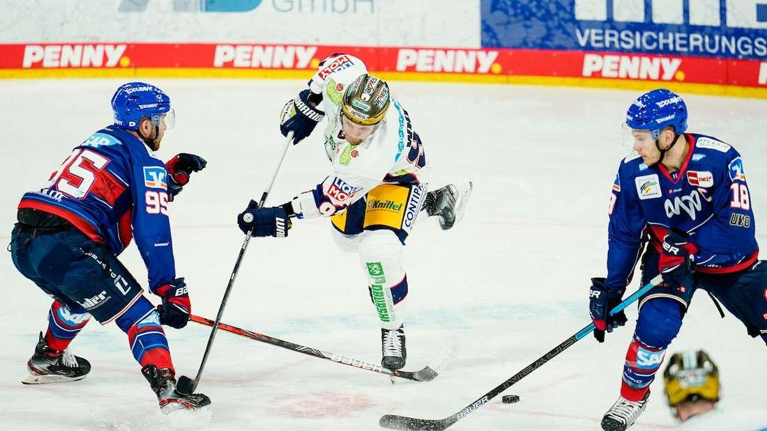 Die Adler Mannheim verlieren gegen die Eisbären Berlin.