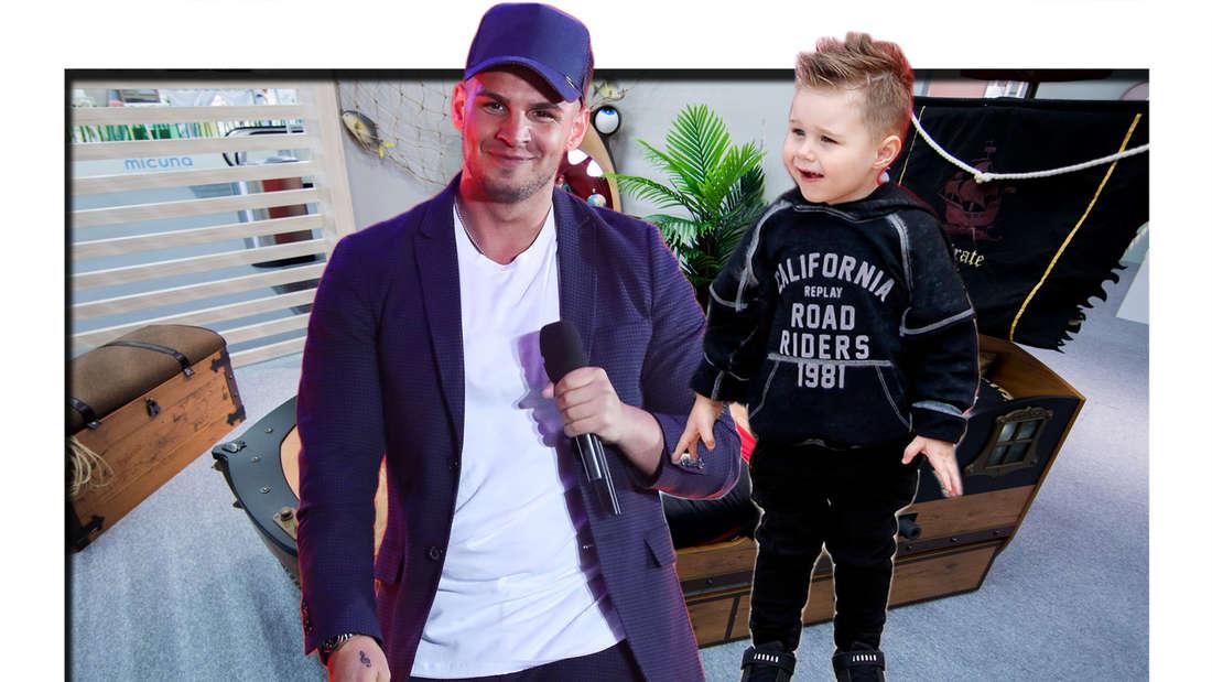 Fotomontage: Pietro Lombardi und Sohn Alessio vor Kinderzimmer mit Piratenbett