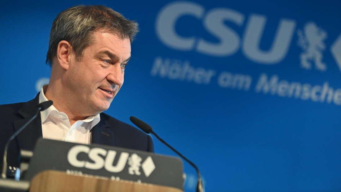 Der CSU-Chef und bayerische Ministerpräsident Markus Söder gibt nach dem CSU-Präsidium eine Pressekonferenz.