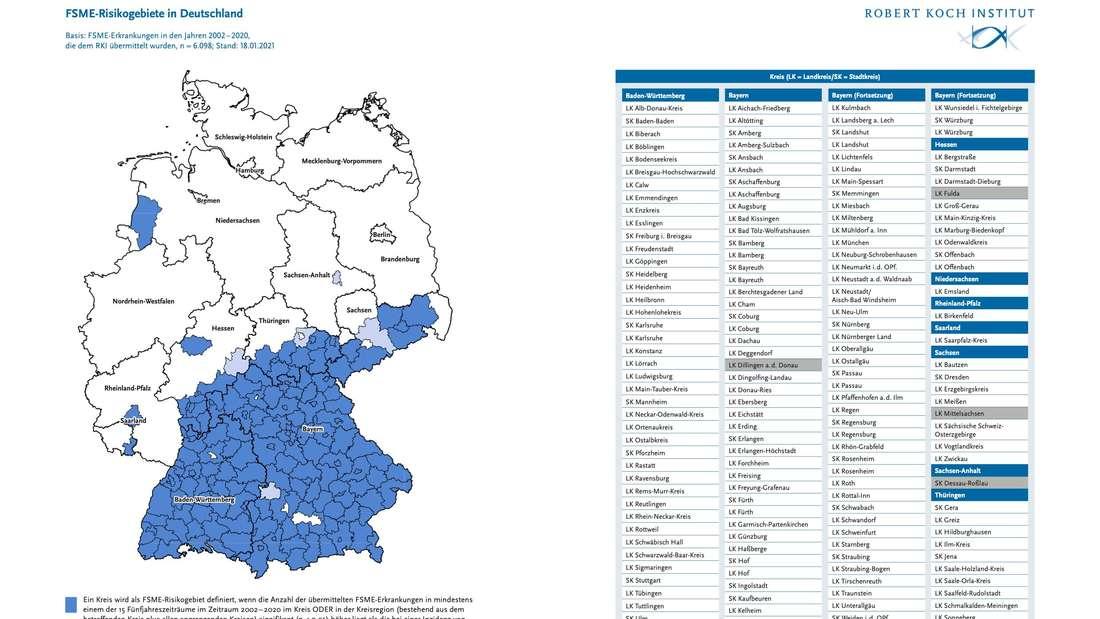 FSME-Risikogebiete in Deutschland