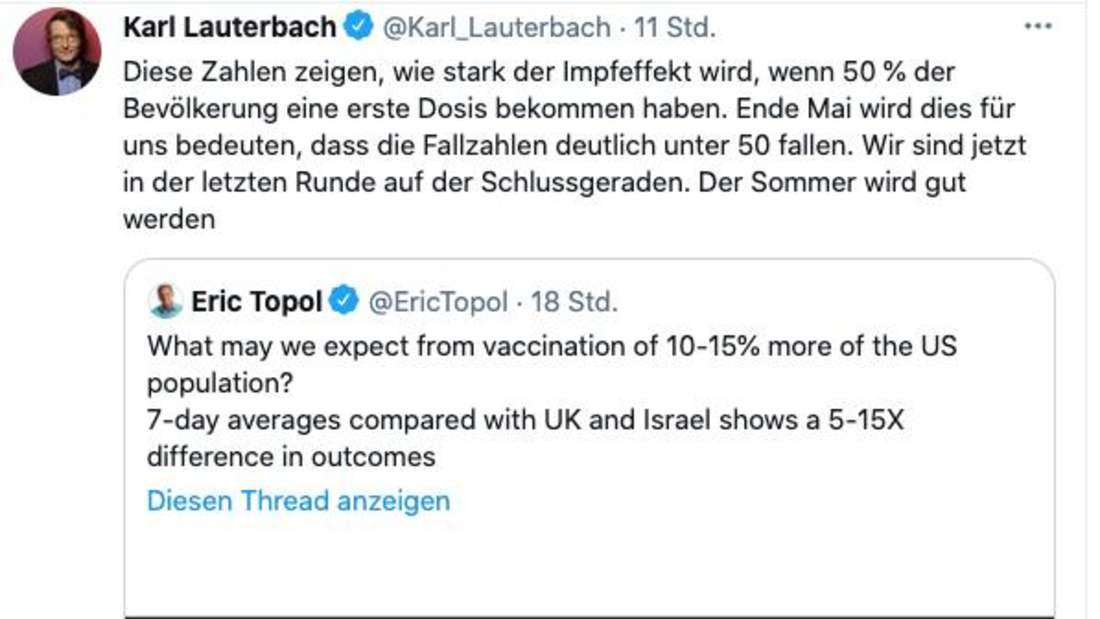 Karl Lauterbach macht mit seinem Twitter-Post Hoffnung