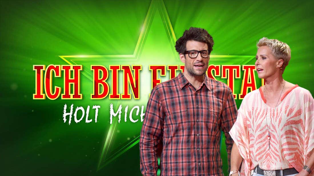 """Daniel Hartwich und Sonja Zietlow stehen vor dem """"Ich bin ein Star – Holt mich hier raus!""""-Logo. (24hamburg.de-Montage)"""