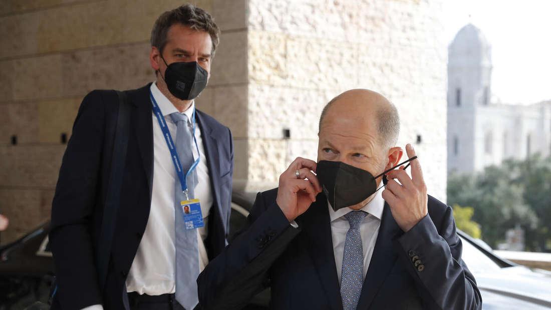 Bundesfinanzminister Olaf Scholz (SPD) beim Treffen der Euro-Finanzminister in Lissabon