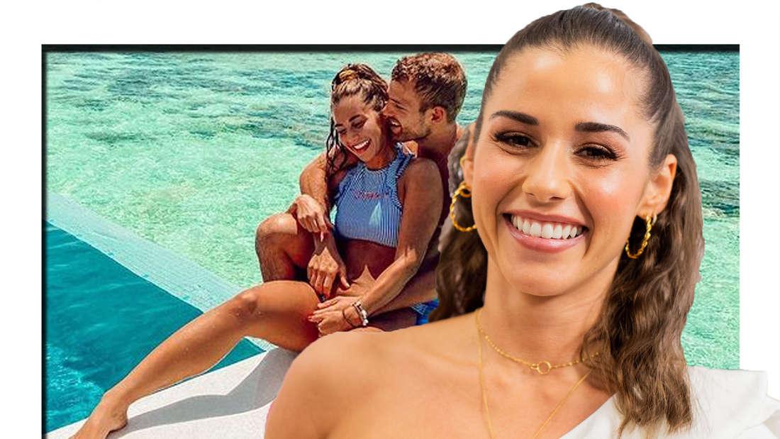 Sarah Lombardi lächelt in die Kamera - im Hintergrund ist sie mit ihrem Mann Julian zu sehen (Fotomontage)