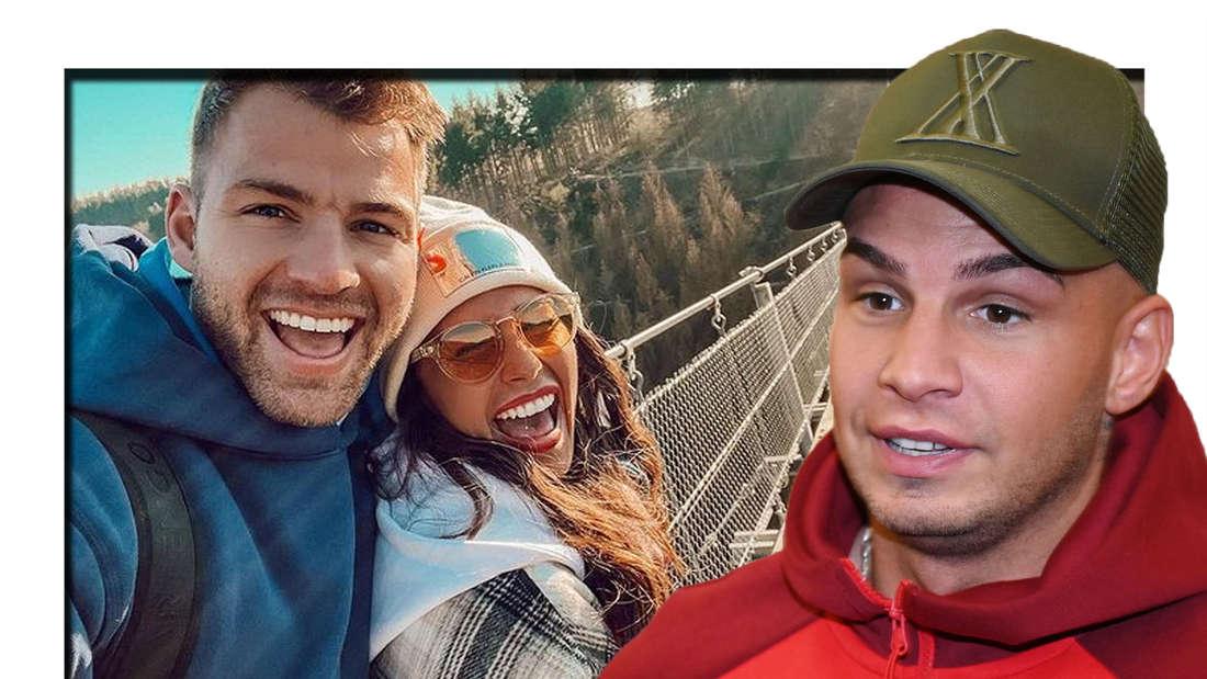 Pietro Lombardi schaut mit hochgezogenen Augenbrauen in die Kamera - im Hintergrund sind Sarah und Julian zu sehen (Fotomontage)