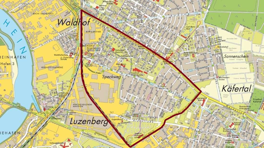 Wer im Rot eingezeichneten Gebiet wohnt, darf im Kulturhaus geimpft werden.