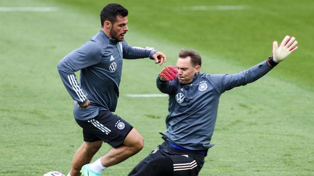 Kevin Volland (li.) im DFB-Training vor der EM 2021.