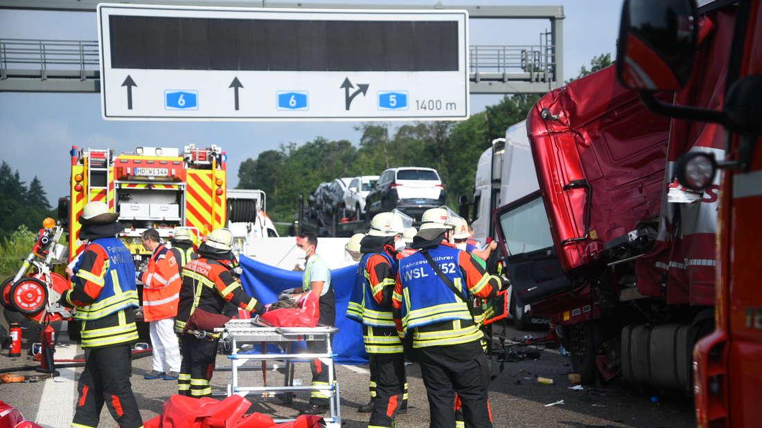 Auf der A6 sind am 9. Juni mehrere Lkw in einen Unfall verwickelt. Die Autobahn in Richtung Mannheim ist gesperrt.